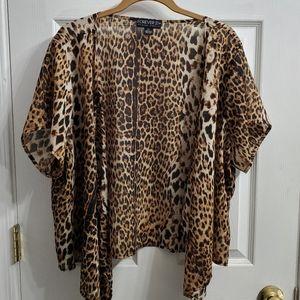 Forever 21+ plus size Leopard print kimono size 2x